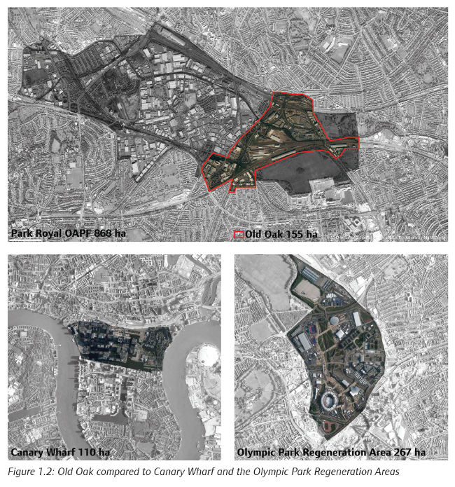 Comparison of Old Oak Common with Docklands and Olympic Park sites, from the GLA's consultation document