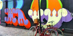 shoreditch bikes and graffiti wall