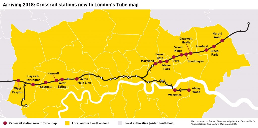 Crossrail map - new stations to Tube map