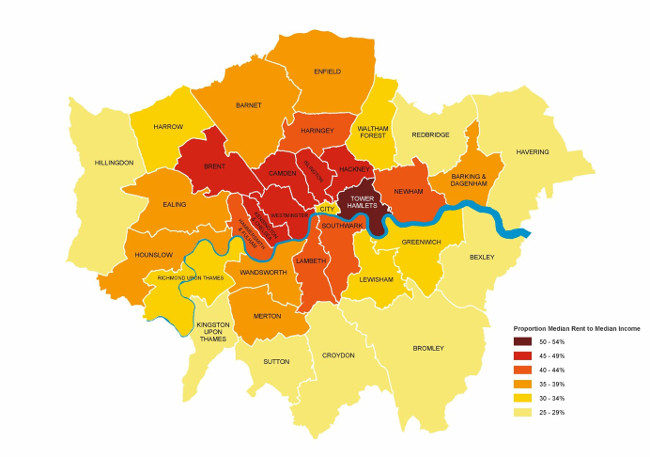 Figure 3d: Affordability of London rents compared to earnings