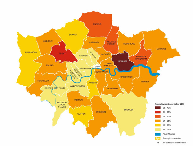 Figure 3e – Proportion of jobs paid below London Living Wage by borough