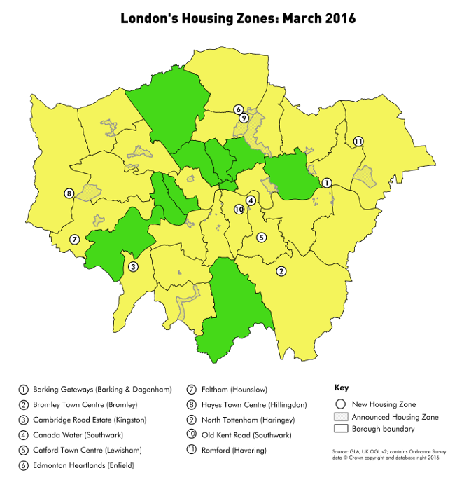 London Housing Zones March 2016