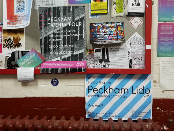 Support for Peckham Lido crowdfunding campaign on a billboard in Peckham's Bussey Building