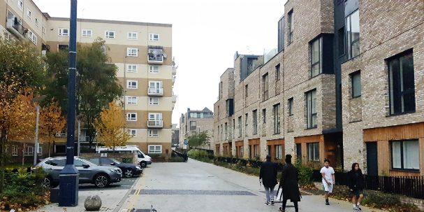South Kilburn estate - Original estate homes (left) and recent additions (right).