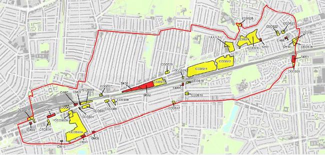 Map of area covered by LB Redbridge's 2011 Crossrail Corridor Area Action Plan. Source: redbridge.gov.uk.
