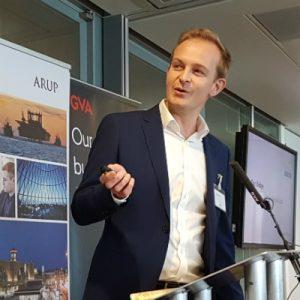 Dan Bridge gives a presentation about development at Royal Docks