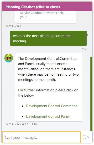 screengrab of Milton Keynes chatbot