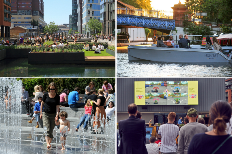 activities at merchant square, paddington: floating pocket park, go boat, water feature, outdoor screen