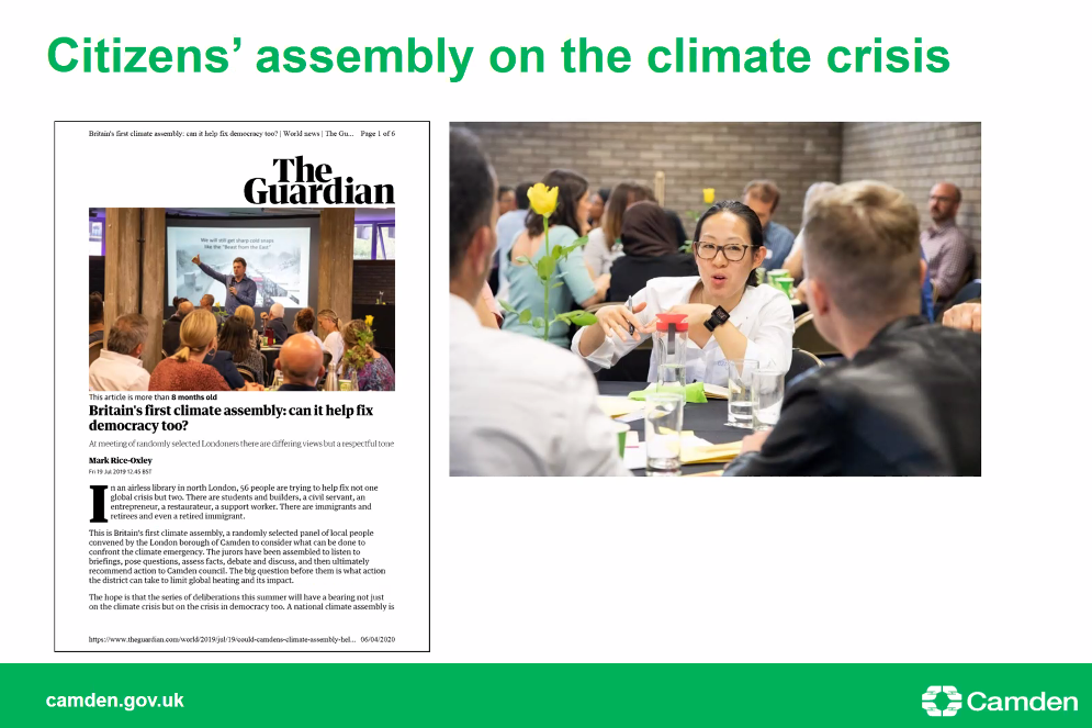 This slide shows images of Camden councils climate emergency citizens assembly