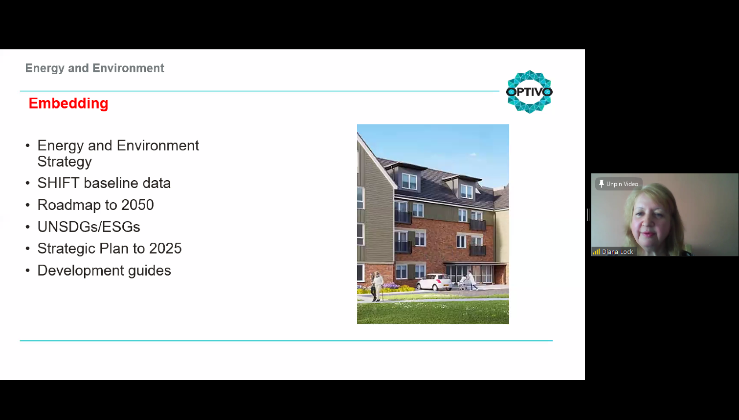 Diana Lock presents a slide on how her housing association is tackling the climate emergency