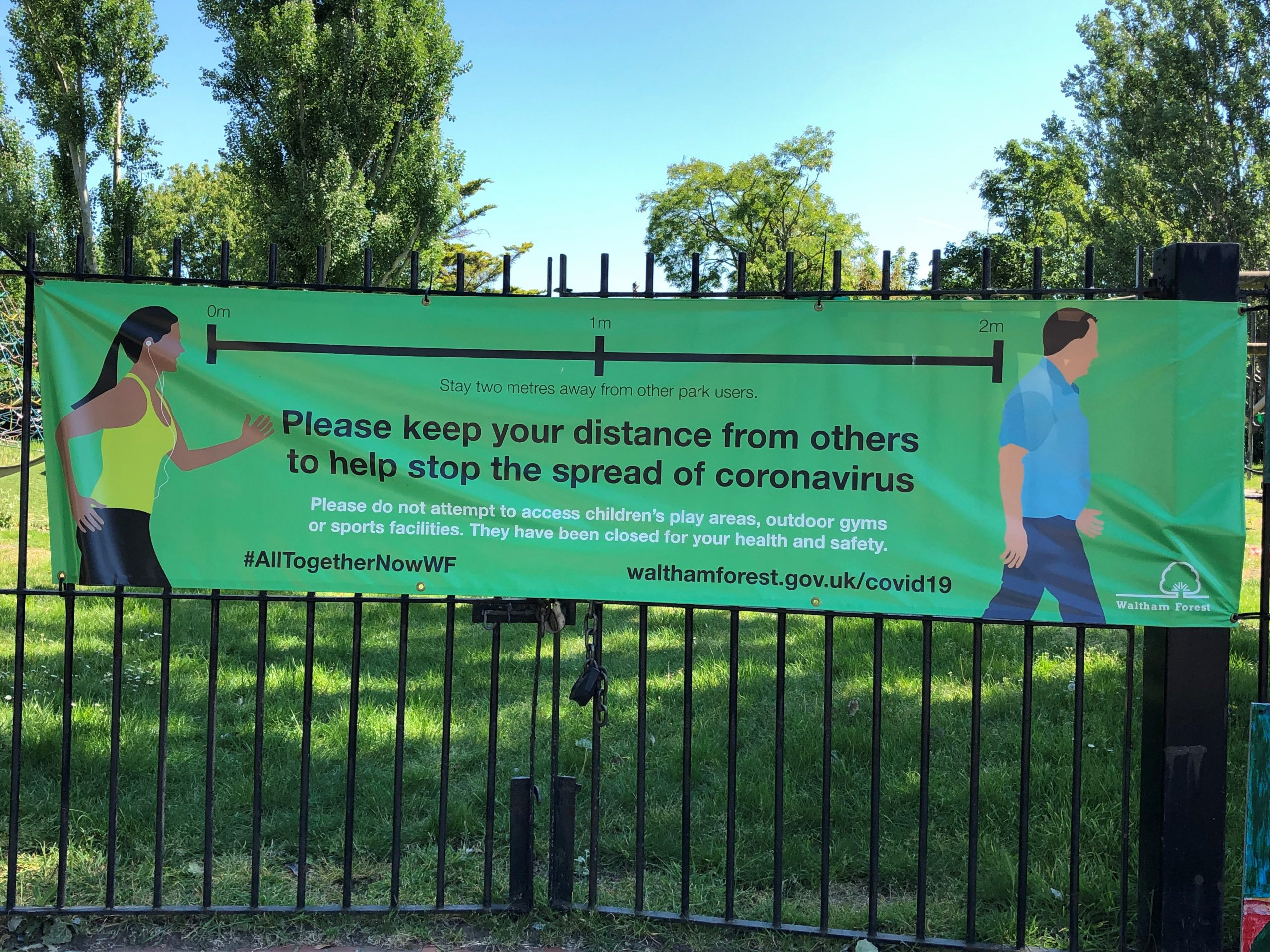 Sign in LB Waltham Forest telling people to keep 2 metres apart because of COVID-19