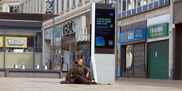 Locla Economic recovery webinar immediate response, learning from crisis homeless man outside shops