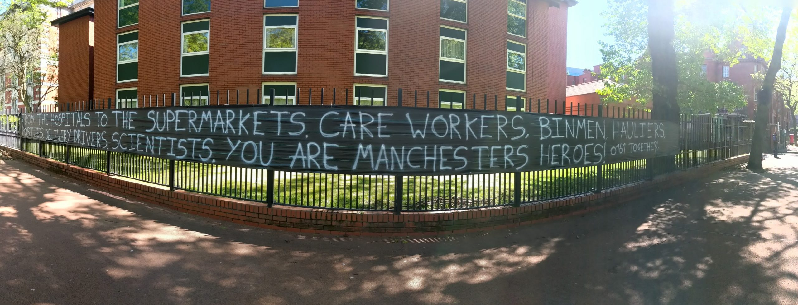 Banner thanking key workers in Manchester