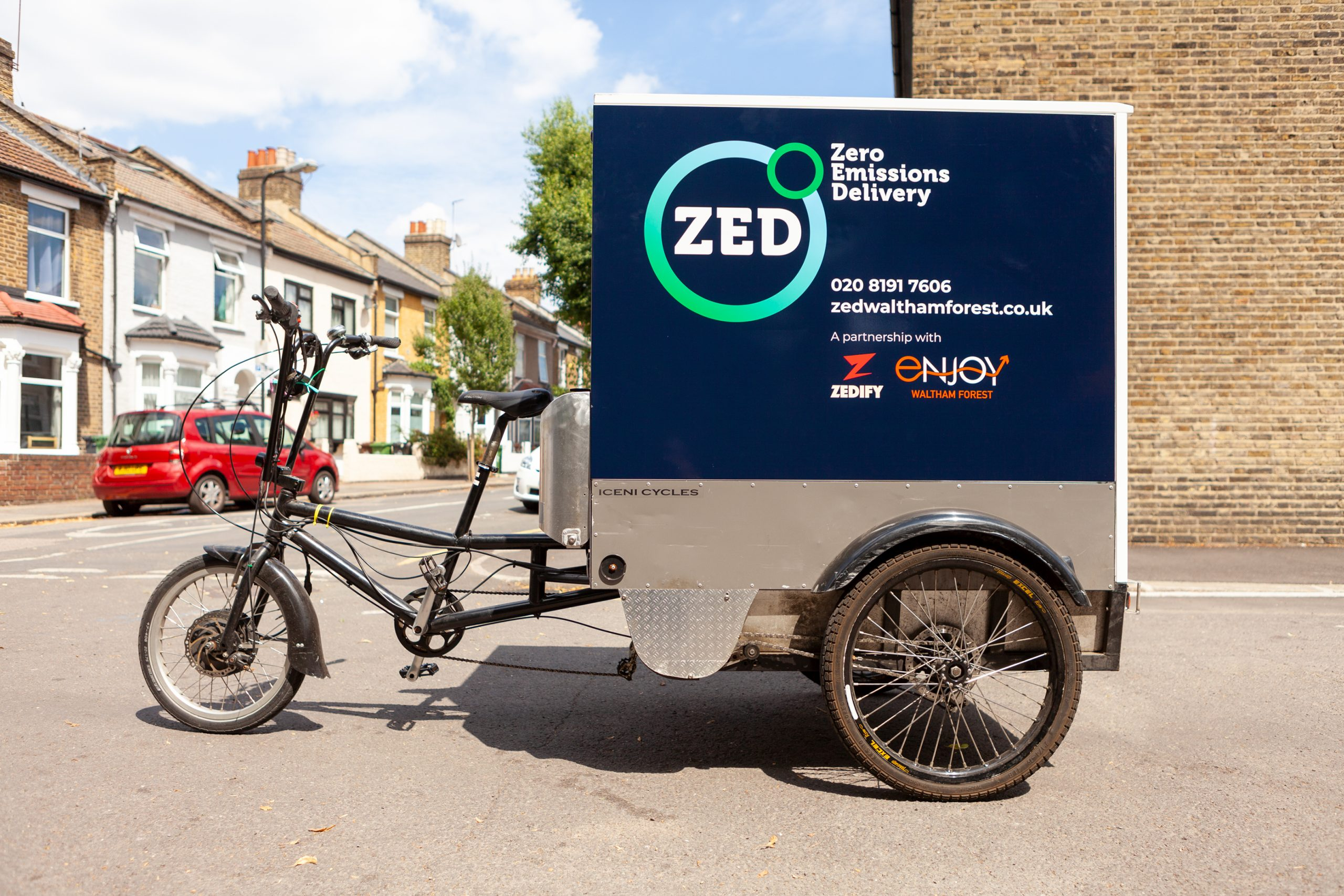 Cargo trike with Zed logo on the side