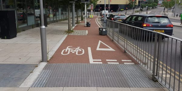Cycle lane next to a road