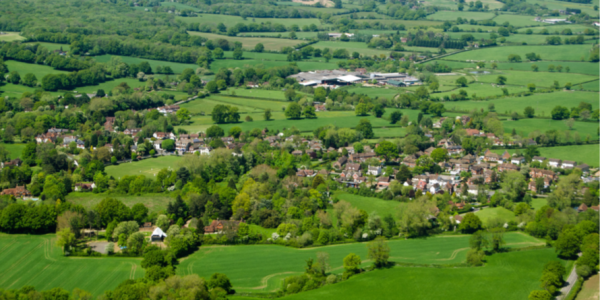 Village and green fields