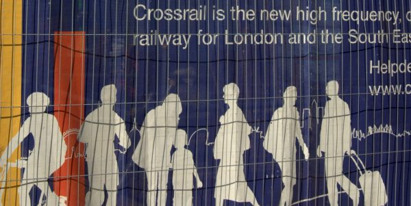Crossrail hoarding at Farringdon, Paying for public projects in a post-Covid world