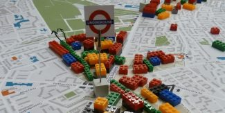 Lego bricks on a map