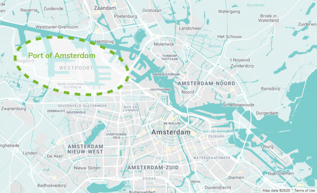 Map of the Port of Amsterdam