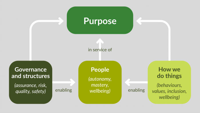 Diagram explaining how to create a sense of purpose to build culture at speed