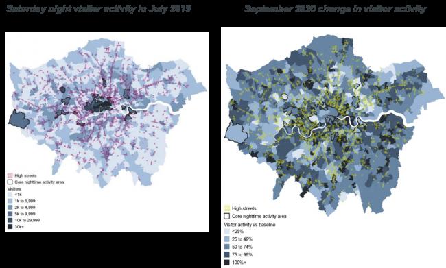 Night time footfall in London data 2019 v 2020