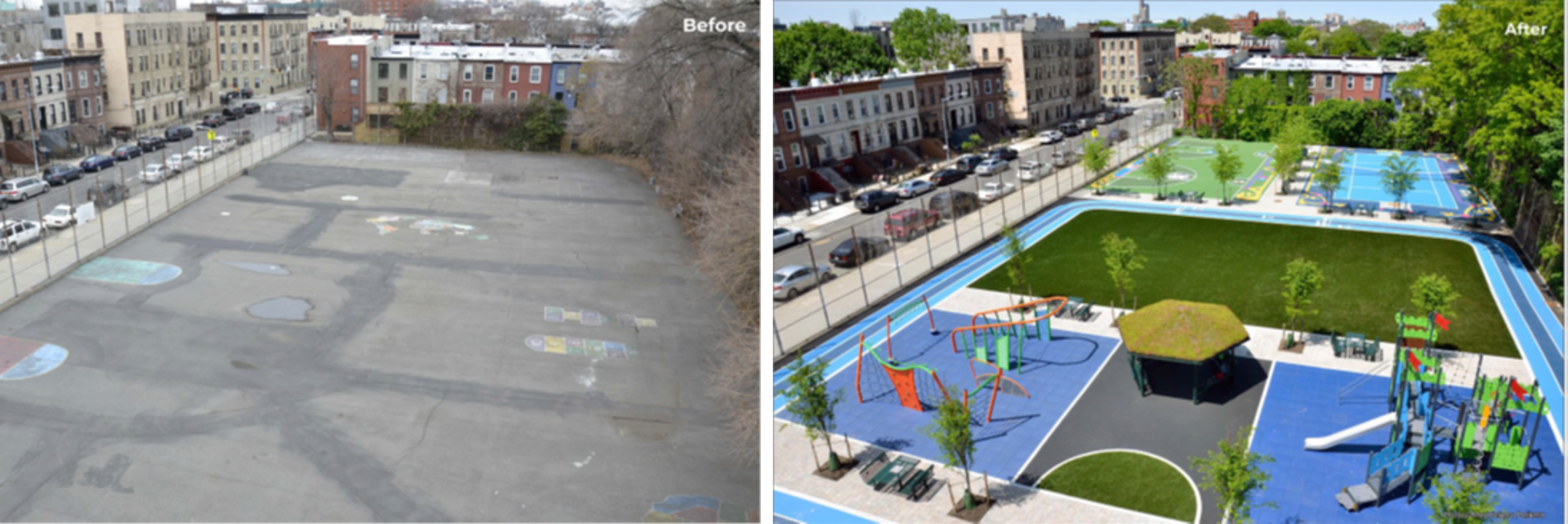 Before and after pictures of Crown Heights schoolyard transformation.